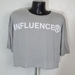 """City Streets top gray graphic """"Influencer"""" women"""
